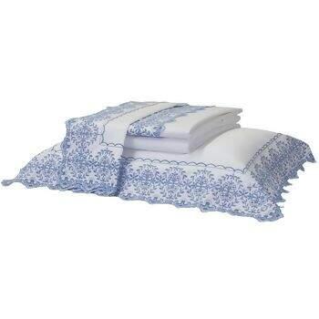 2d717f45a2 Jogo de Cama 400 Fios Bordado Maiorca Azul Casal - Artelassê