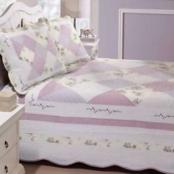 Cobreleito Bordado Buettner Decor Percal 180 fios Rose Lilas Queen