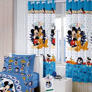 Cortina com Ilhos Disney Mickey Happy 180 x 200 cm - Santista