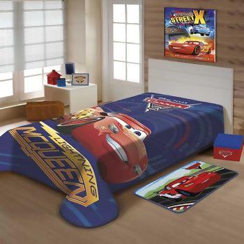 0a8af9a405 Cobertor Disney Raschel Carros McQueen Solteiro 150 x 200 - Jolitex