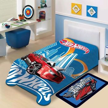 Cobertor Hot Wheels Raschel Solteiro - Jolitex