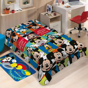 Manta de Microfibra Soft Disney Mickey Friends Solteiro - Jolitex