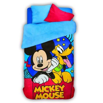Coberdrom Fleece Mickey Dupla Face Solteiro 160 x 240 - Lepper