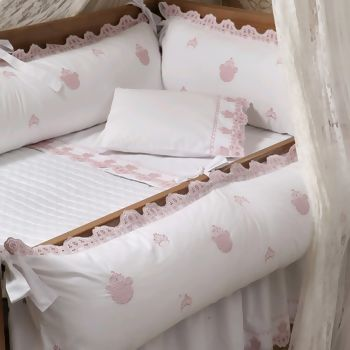 445f6a4d05 Kit de Berço 200 Fios Bordado Ursa Br Rosa 6 peças - Marken Fassi Baby