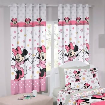 Cortina com Ilhos Disney Minnie Happy 180 x 200 cm - Santista