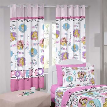 Cortina com Ilhos Disney Princess Power 180 x 200 cm - Santista